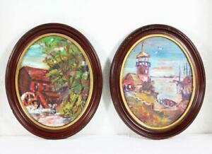 Pr of Framed Oval Landscape Paintings Oil on Cardboard Mill amp; Lighthouse Signed $10.00