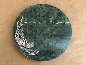 Seashells green marble cheese board cutting serving round dish pewter sea horse