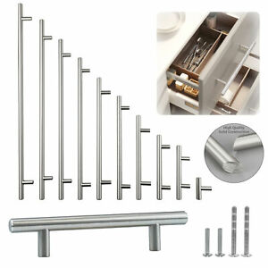 Solid Stainless Steel Brushed Nickel T Bar Kitchen Cabinet Handles Pulls 2quot; 24quot; $4.19
