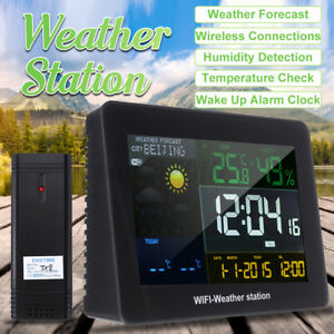 Digital Wireless LCD APP Wifi Weather Station Alarm Clock Humidity Thermometer