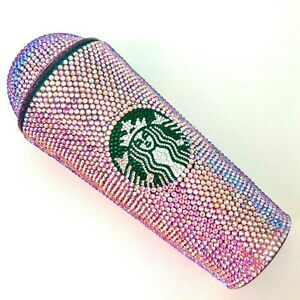 Custom Bling Starbucks Tumbler Venti with Dome Lid Swarovski Pink AB Crystals