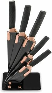 5 Pieces Black Kitchen Knife Set Stainless Steel Non Stick Coating Knives with B