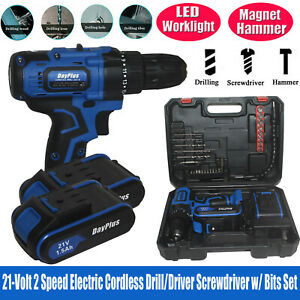 21V Lithium Ion 2 Batteries Cordless Combi Drill Electric Driver Screwdriver US