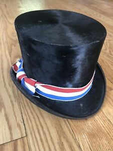 Antique Top Hat Brooks amp; Co New Haven CT Beaver w Red White Blue Bow c 1880