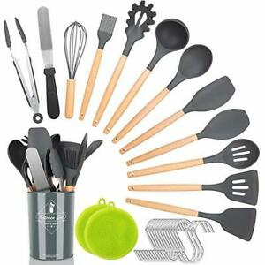 Kitchen Utensil Set,30 Pcs Silicone Cooking Utensils with Wooden