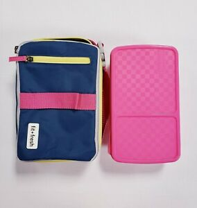Fit & Fresh Insulated Lunch Bag w/ Bento Box Blue Pink New Open Box No Ice Packs
