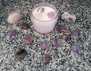 Lavender Chamomile 4oz Soy Wax Candles with Crystals - Amethyst - Rose Quartz