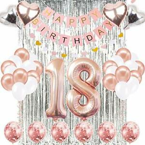 18th Happy Birthday Banner Rose Gold Number Celebration Decorations Supplies New