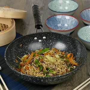 Black Marble Carbon Steel Induction Wok Chinese Non Stick Frying Pan 30cm 12quot; $19.51