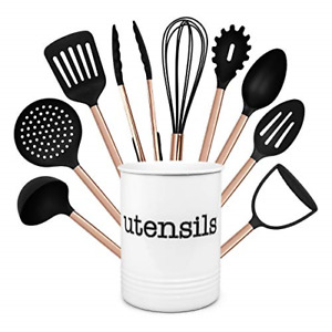 Cook With Color 10 Piece Nylon Cooking Utensil Set with Holder, Kitchen Tools -