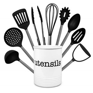 Country Kitchen 10 Piece Nylon Cooking Utensil Set with Holder, Kitchen Tools -