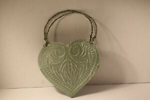 Youngstown Metal Works? Green Heart Shaped Wall Pocket Rustic Style Farmhouse