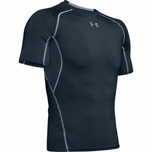 New Under Armour HeatGear Sonic Compression Fit T Shirt Men Sizes Navy Blue NWT $18.94