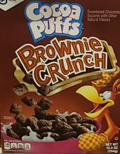 New General Mills Cocoa Puffs Brownie Crunch 10.4 oz Cereal Box