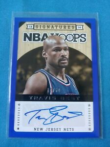 Travis Best 2013 14 NBA Hoops Basketball Signatures BLUE SSP AUTO #d 18 50 NETS