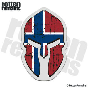 Norway Flag Spartan Helmet Decal Sticker Norwegian Nordic Vinyl EMV