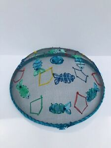 Vtg. Food Dome Cover Mesh with Raised Fish Decoration Picnics/Cookouts 12x5