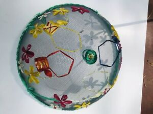 Vtg. Food Dome Cover Mesh with Raised Flower  Decoration Picnics/Cookouts 12x5