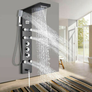 Thermostatic Oil Rubbed Bronze Shower Panel Rainamp;Waterfall Tower Massage System
