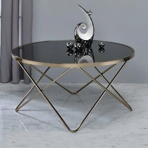Glass Top Coffee Table Metal Base Mid Century Modern Living Room Furniture Round