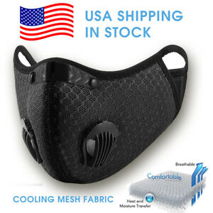 ✅ Mesh Fabric Cloth Reusable Face Mask Black Size L XL