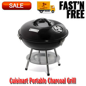 Cuisinart Portable Charcoal Grill, Durable Enamel-Coated Firebox Barbecue, Grill