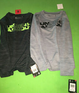 Under Armour Shirts Boys Size 6 Black Gray Neon New Light Weight Performance $20.00