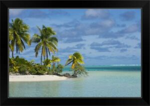 White sand bank in the waters of the Black Framed Wall Art Print Home Decor $76.49