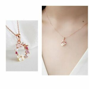 Fashion Butterfly Flowers Clavicle Zircon Crystal Pendant Necklace Women Jewelry