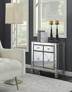 Mirrored Hall Table Entryway Console Elegant Drawer Cabinet Gray Wood Furniture