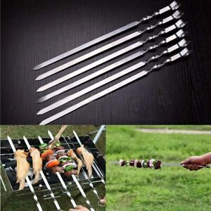 10PCS BBQ Barbecue Sticks Roasting Grilling Kebab Meat Flat Skewers Needle US