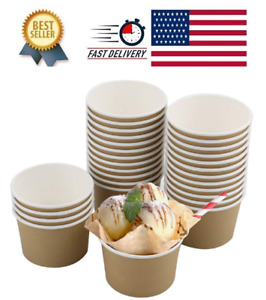 100 Pack 8 oz Ice Cream Cups, Disposable Paper Dessert Bowls for Hot
