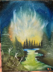 Forest Night Sky Oil Painting On Canvas. Original By Kaitlin Luke