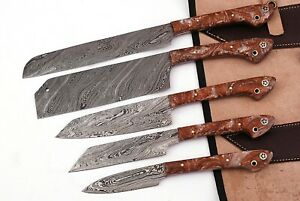 HAND FORGED DAMASCUS STEEL CHEF KNIFE KITCHEN SET WITH RESIN HANDLE -