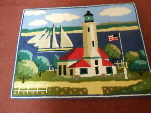 WOOL HAND HOOKED RUG/LIGHTHOUSE/SAILBOATS    20 X 26