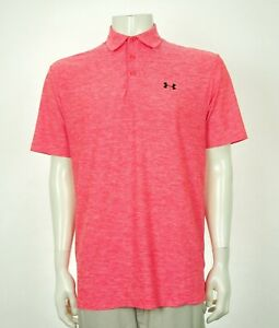 Under Armour UA Elevated Pink Casual Golf Polo Shirt Mens Medium $20.50