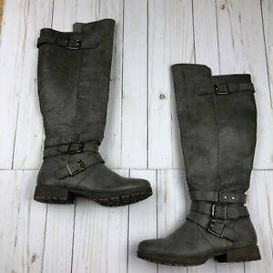 Just Fab Bronwen Gray Tall Buckle Boots