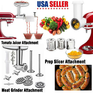 Meat Grinder & Prep Slicer & Tomato Juicer Attachment For KitchenAid Stand Mixer