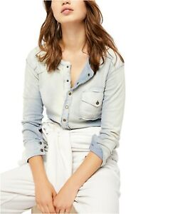 Free People NEW GENE Henly patchwork Top Blue Small $89.00