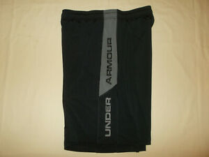 UNDER ARMOUR HEAT GEAR BLACK ATHLETIC BASKETBALL SHORTS MENS LARGE EXCELLENT $10.50