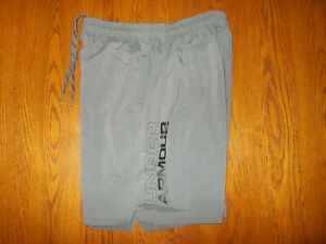 UNDER ARMOUR HEAT GEAR GRAY ATHLETIC SHORTS MENS LARGE EXCELLENT CONDITION $4.25