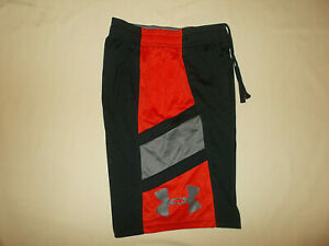 UNDER ARMOUR HEAT GEAR BLACK & RED ATHLETIC SHORTS BOYS SMALL EXCELLENT COND. $3.28