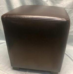 New Dark Brown Leather Cube Ottoman Joseph DH6660 16quot; FREE SHIPPING: MSRP $99
