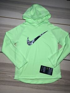 Nike Boys' Athletic Shirt Dri Fit Hoodie Youth Size 6 Medium Green Polyester NWT $17.99