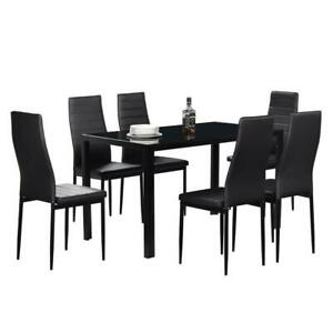 High Quality 7 piece Black Rectangular Table amp; Black Chairs Dining Room Set NEW