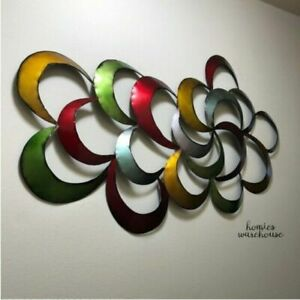 Modern Abstract Metal Wall Art Multi Color Half Moons 3D Sculpture Home Decor $58.29
