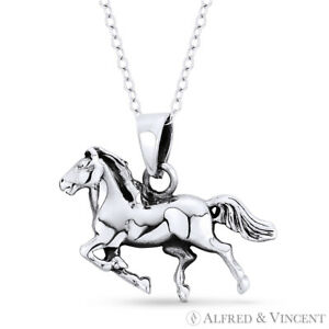 Galloping Stallion Mustang Horse Equestrian Charm Pendant in 925 Sterling Silver $20.99