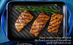 """Le Creuset Grill Cast Iron 13.0"""" x 8.5"""" Enameled Grilling Pan Blue MADE FRANCE"""