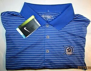NWT NIKE Golf DRI FIT XLarge XL Blue Striped S S Shirt w SWOOSH Sleeve Logo NWT $16.98