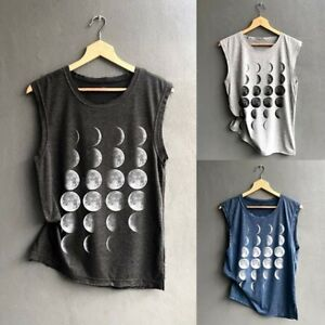 Womens Casual Moon Print Vest Loose Sleeveless Sport Pullover Tunic Tank Top $9.80